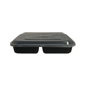 1000ml 4 compartment black pp plastic food container disposable lunch bento box takeaway box with lid