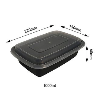 1000ml 1 Compartment Black Plastic Food Container with Lid